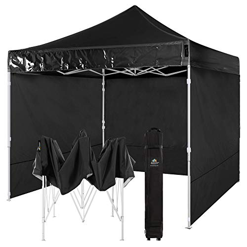 AMERICAN PHOENIX Canopy Tent 10x10 Easy Pop Up Outdoor Canopies Folding Instant Shelter Sunshade with 4 Removable Sidewalls (Black)