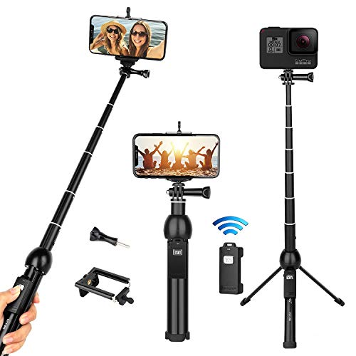 "Selfie Stick Tripod, All-in-One 45"" Extendable Phone Tripod Stand Selfie Stick with Wireless Remote Compatible for iPhone 11 Pro XS Max XR X SE 8 7 6S Plus Android Samsung Galaxy S10 S9 OnePlus Gopro"