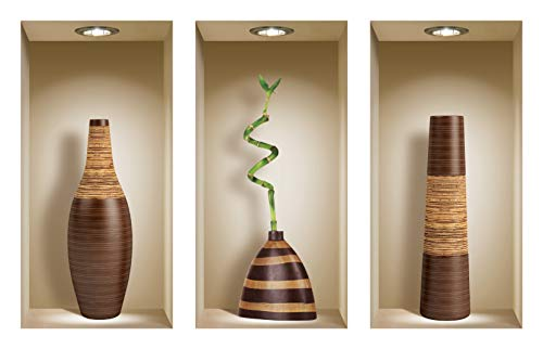 Die entfernbaren Nisha Art Magic 3D-Vinyl-Wandabziehbilder zum Selbermachen, 3er-Set, Braune Vasen