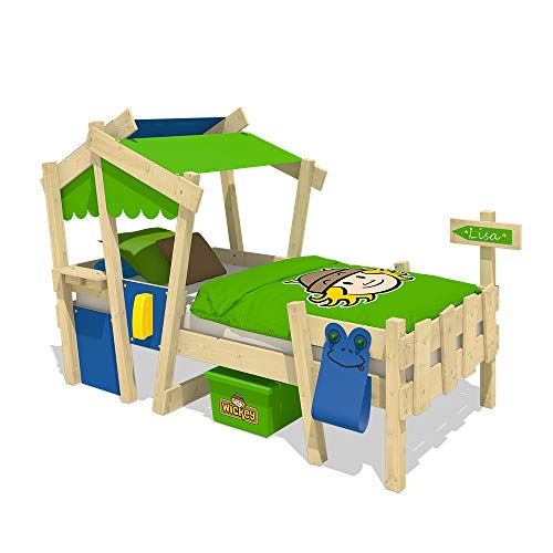 Wickey CrAzY Candy Kinderbett Jugendbett 90x200cm (BLAU / APFELGRÜN mit Lattenboden)