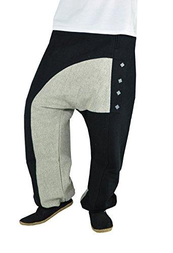 virblatt Pantalones Cargo Hombre con Tela Robusta diseño único. Ropa etnica Kopfkino Black Grey