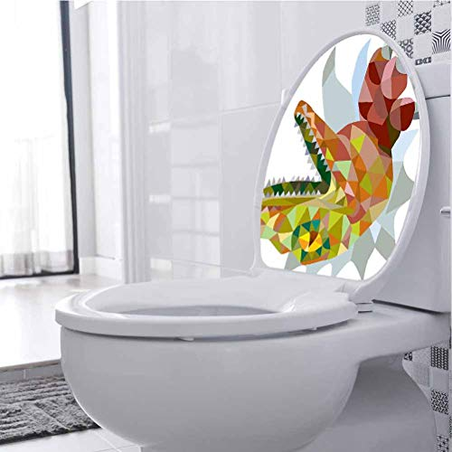 Wall DIY Decoration Colored Mosaic Wild Trex Mouth Jurassic Pixel Dinosaur Home 3D Toilet Seat Lid Cover Decals Stickers Removable Self-Adhesive, 21 x 28 cm