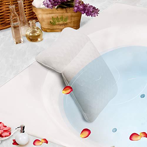 PINGKO お風呂 枕 バスピロー バスタブ メッシュ 吸盤 滑り止め 速乾 防水 抗菌 洗濯可 ホワイト