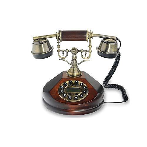 Retro Schnurloses Telefon Metall Massiv Hohe 21,5 cm Braun Büro-Festnetz Haushaltsfestnetz