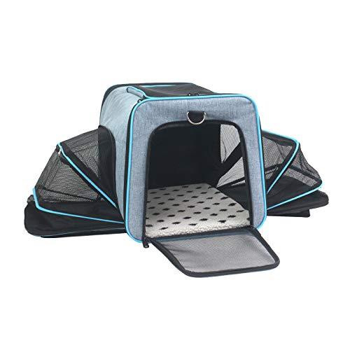 ABISTAB Pet erweiterbare Tragetasche, Hundebox, Katzen und Hunde Transportbox, ausklappbar, Faltbare größere Haustiertragetasche, Matte mit Hartfaserplatte, für Auto und Flugreisen geeignet