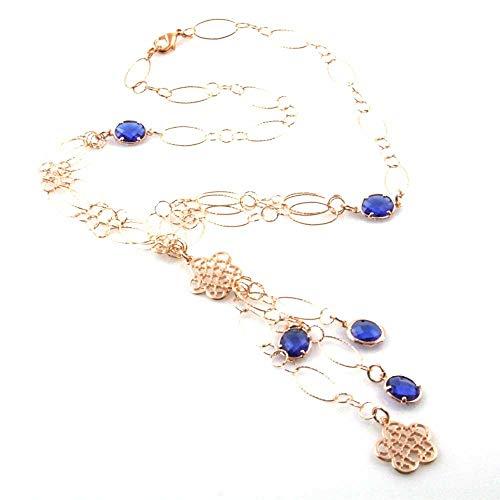 amorili Collar de Mujer de la Joya de Bronce de Cobre y Cristales de Color Azul Largo 80 cm - cll1612