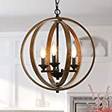 Log Barn Farmhouse Chandeliers for Dining Room, Faux Wood Hanging 3-Light Fixture for Kitchen Island, Foyer, 15.5 Inches