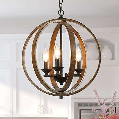 Log Barn Globe Chandeliers for Dining Room Farmhouse Hanging Fixtures for Kitchen Island Foyer Pendant Lighting, Shape, 15.5 Inches