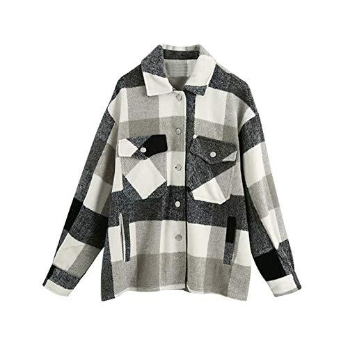 YTG Scheck Dame Übergroßes Hemd Lose Hemd (Color : Gray Black, Size : M)