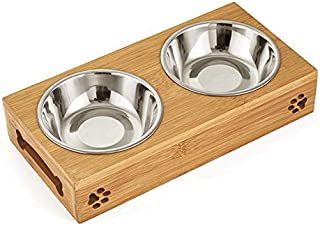 Double Pet Dog Bowl Stainless Steel Pet Bowl Bamboo Bottom Food Water Dual-use Feeding Dish