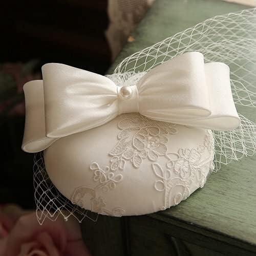 chenfeng Bridal Manufacturer OFFicial shop Veil hat England Satin Max 52% OFF Hair Hat White Fascinator