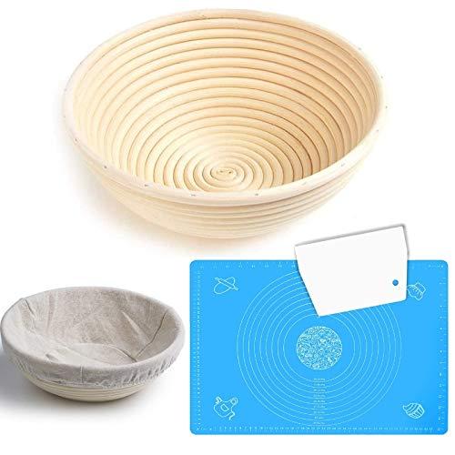 "Banneton Proofing Basket Set – 9"" Bread Baking Bowl with Linen Cloth Liner ǀ Dough Scraper ǀ Silicone Baking Mat with Measurements ǀ Sourdough Bread"