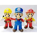 3Pcs 12Cm Super Marioed Bros Polis Brandman Ingenjör, PVC Action Leksaksfigur Samlar Marionetter Modell Leksaker Barn Födelsedagspresent