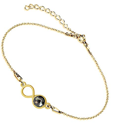 Beforya Paris Infinity - Pulsera ajustable con diamante negro, pulsera de plata 925 bañada en oro de 24 quilates con elementos originales de Swarovski, pulsera para mujer con bolsa de regalo