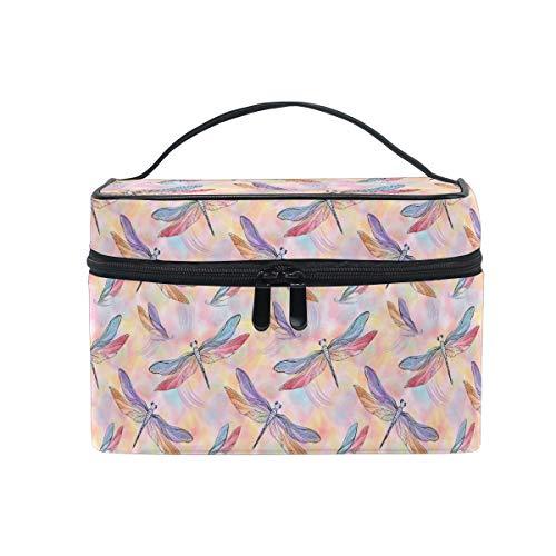 HaJie Large Capacity Makeup Bag Organiser Pink Dragonfly Animal Print Travel Portable Cosmetic Case Toiletry Storage Bag Wash Bag for Women Girls