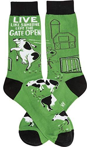 PBK LOL Made You Smile Gift Socks, Green White & Black