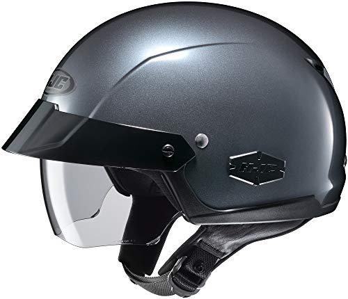 HJC is-Cruiser Solid Motorcycle Half Helmet Dark Anthracite Silver MD