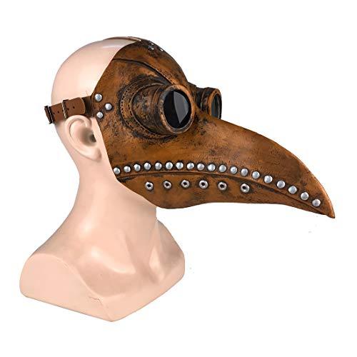 Yacn Plague Doctor Bird Latex Mask Steampunk Long Nose Beak Cosplay Disfraz de Halloween para Adulto