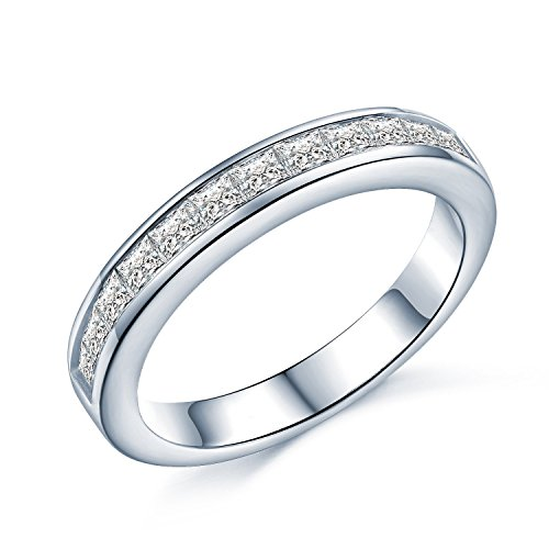 Princess Cut Eternity Ring - 2mm CZ Crystals Eternity Ring Style - Half Eternity White Gold Look Sterling Silver - Sizes I - T (N)