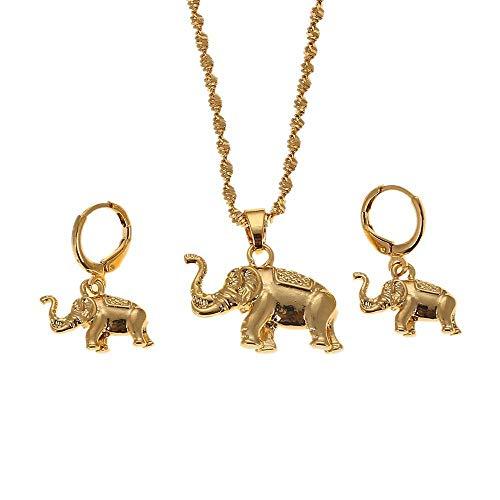 Estilo lindo animal bohemio color dorado elefantes colgante collar pendiente conjunto de joyas