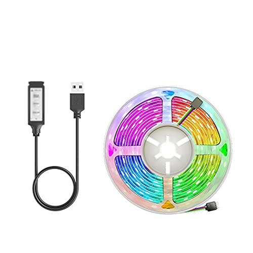JEZZ 1M 2M 300cm LED Tira de luz lámpara Flexible USB Bluetooth Led Cinta de iluminación diodo para luz de Fondo de TV Fiesta (Color : 3 Buttons, Size : 3m)