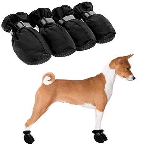 Harmontex Dog Boots for Small Dogs - Waterproof Dog Shoes, Paw Protectors with Adjustable and Reflective Straps, Anti-Slip Sole for Indoor & Outdoor Wear