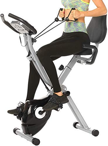 ANCHEER Bicicleta Estática Plegable Bicicleta de Ejercicio para casa 10 Niveles de Resistencia Magnética, con App, Soporte para Tableta Capacidad de Peso:120kg( Gris+ respaldo)