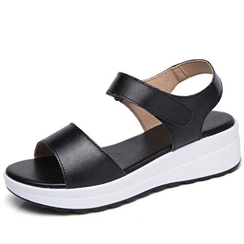 QLIGHA Sandalias de cuña de Cuero de Fondo Grueso, Sandalias con Boca de pez de Verano para Mujer, Zapatos de Punta Abierta de Moda Informal Transpirables para Estudiantes para Adultos