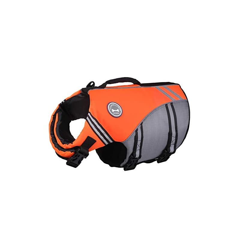 dog supplies online vivaglory new sports style ripstop dog life jacket with superior buoyancy & rescue handle, bright orange, l