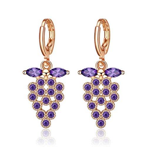 Thumby Europese en Amerikaanse Populaire Druif Vorm met Drop-Shaped Zircon Oorbellen, Champagne Paars Diamant Eenvoudige Oorbellen Sieraden
