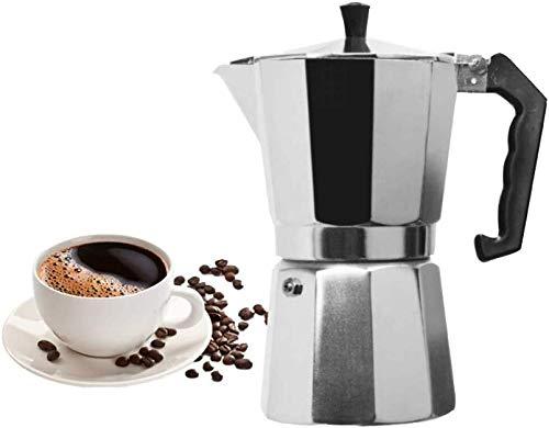 ZHDWM koffiezetapparaat Mocha Coffee Pot van aluminium voor espressomachine, 1 kopje, 3 cup, 6 cup, 9 cup, 12 cups, koffie en koffie, voor huishoudelijke apparaten, 300 ml voor 6 kopjes, koffiezetapparaat