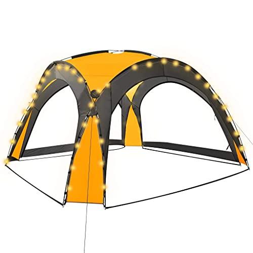 Tienda de campaña con LED y 4 paredes laterales resistente a los rayos UV y al agua al aire libre jardín fiesta camping toldo cenador evento pabellón 3.6x3.6x2.3m amarillo