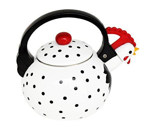HOME-X Leghorn Rooster Whistling Tea Kettle, Animal Teapot, Kitchen Accessories