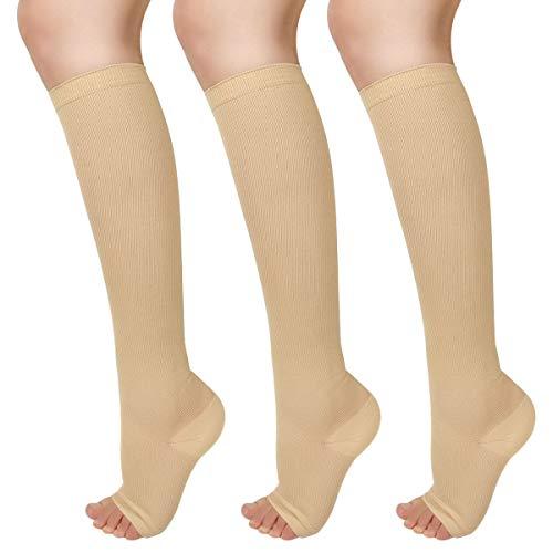 Ikfashoni 3 Paar Kompressionsstrümpfe Damen & Herren Medizinische Kniestrümpfe ohne Fußspitze Beige Thrombosestrümpfe Stützstrümpfe für Abgestufte Krampfadern lutzirkulation