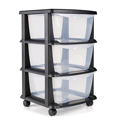 Cajoneras contenedores de plástico con ruedas para uso rudo Contenedores para almacenaje de color negro con 3 cajones - Hecho en Europa