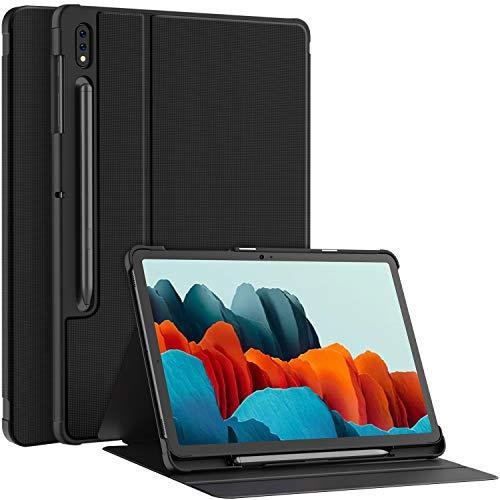 Soke Hülle Kompatibel mit Samsung Galaxy Tab S7 11 2020, Folio Schutzhülle Tasche Magnetisches Cover, mit Stifthalter, Mehrfachwinkel, Auto Schlaf/Wach für Samsung Tab S7 11 (T870/T875), Schwarz