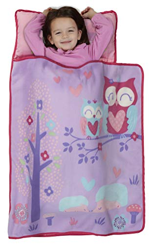 Funhouse Forest Friends Woodland Kids Nap Mat Set – Includes Pillow and Fleece Blanket – Great for Girls Napping during Daycare, Preschool, or Kindergarten - Fits Toddlers and Young Children