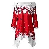 MORCHAN Cadeaux de noël Noël Femmes Dots Zipper Imprimer Hauts Sweat à Capuche Pull Chemisier T-Shirt(X-Large,Rouge)