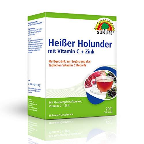 SUNLIFE Heißer Holunder mit Vitamin C + Zink: Getränk mit Granatapfelsaft-Pulver, Holunder-Geschmack, 20 Sticks
