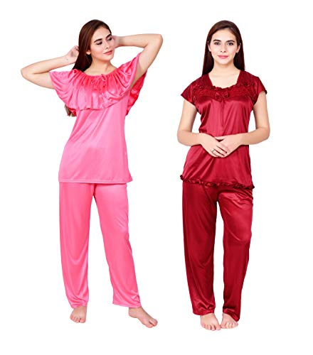 Truenight® Women's Pink & Maroon Night Suit