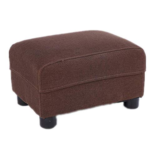 Opbergkruk, voetenbankje, houten steun, rechthoekig, gevoerde voetstoel, zitpoef, stoel, bank, poef, voetenbankje, LEBAO (kleur: beige) bruin