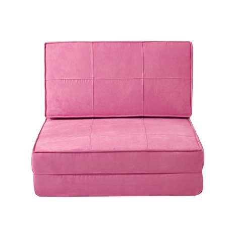 Flip Chair Convertible Sleeper Dorm Bed Couch Lounger Sofa in Racy Pink