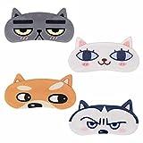iwobi 4 Piezas Antifaz para Dormir Venda Divertida para los Ojos, Venda para Dormir Perro Gato 3D Sueño Venda para Dormir