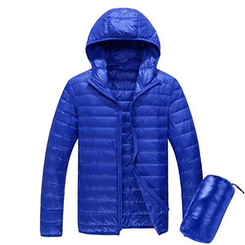 Heren gewatteerde jas met capuchon, waterbestendige Puffer Down Jacket, Lichtgewicht, Warm, voor reizen, wandelen in de herfst, Winter L Blauw