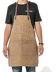 QCWN Canvas Keuken Chef Schort, Verstelbare Bib Schort met Zakken, Mannen & Vrouwen Keukenschort, Baking Schort, Crafting Schort, Werkwinkel Schort WQ37