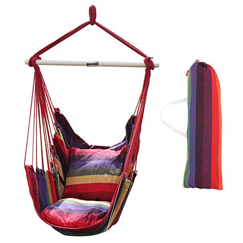 ANPI Hammock Swing Chair, with 2 Extra Padded Cushions, Outdoor/Indoor Hanging Rope Hammock Chair Swing Seat, Contains Hook, Wooden Bar, Carry Bag