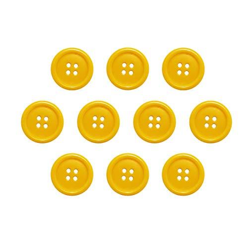 Seeking ROAM Buttons 4 Hole, 1 Inch, Resin, 10 Pieces, Yellow