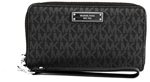 """MK Signature Leather Silver-Tone Hardware Interior Features Phone Pocket, Slip Pocket, Zip Compartment, Multiple Card Slots, ID Window Zip-Around Closure 7'' (H) x 4"""" (W) x 1"""" (D)"""