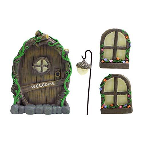 Amosfun 1 juego de figuras de hadas en miniatura con ventana y puerta brillante de color oscuro brillante para puertas de cristal y ventanas, árbol de decoración