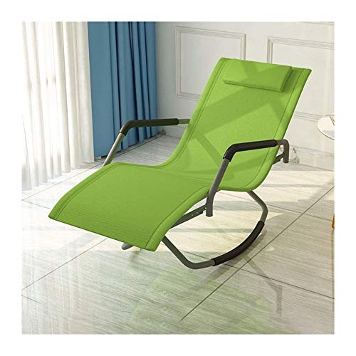 Folding Rocking Chair with Armrests and Backrest 150° Swing Relaxing Recliner Chair for Living Room, Patio and Terrace Nursing Chairs (Color : Green)